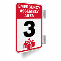 Emergency Assembly Area Number 3 Double Sided Sign