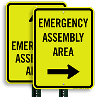 Right Arrow Emergency Assembly Area Sign