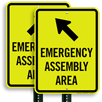 Upper Left Arrow Assembly Area Emergency Sign