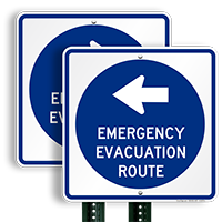 Arrow Sign for Evacuation Sign