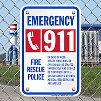 Fire Emergency 911 Sign