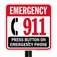 Emergency 911 Press Button Phone Sign