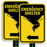 Directional Emergency Shelter Sign