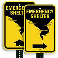 Directional Emergency Shelter Sign With Graphic