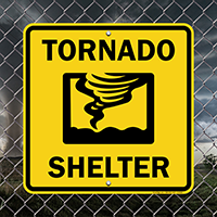 Tornado Shelter With Graphic Emergency Sign~Emergency Tornado Shelter Sign