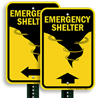 Graphic and upward Arrow Emergency Shelter Sign