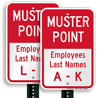 Employees Assembly Area Name A-K Sign