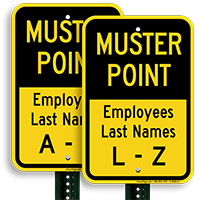 Employees Last Names L-Z Muster Point Sign