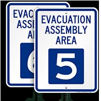 Evacuation Assembly Area 5 Sign