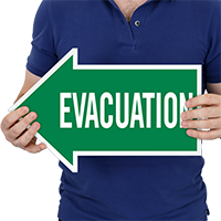 Evacuation, Left Die-Cut Directional Signs