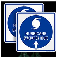 Evacuation Route Ahead Arrow Sign