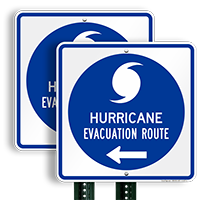 Evacuation Route Left Arrow Sign