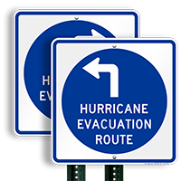 Evacuation Route Upper Left Arrow Sign