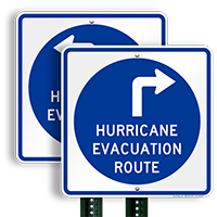 Evacuation Route Upper Right Arrow Sign