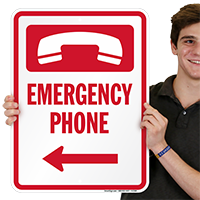 Emergency Telephone Right Left Sign