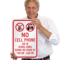 No Phone In School Zone Sign