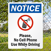 No Cell Phone Use While Driving Sign