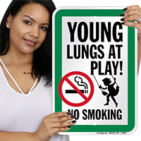 Young Lungs At Play! No Smoking sign!~Young Lungs At Play! No Smoking Sign With Graphic