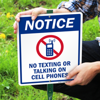 No Texting Or Talking LawnBoss Sign