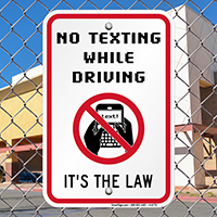 No Texting While Driving Law Sign