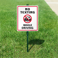 No Texting and Driving LawnBoss Sign