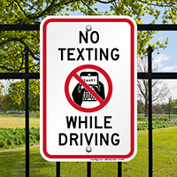 While Driving No Texting Sign