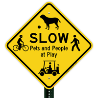 Pets And People At Play Traffic Sign
