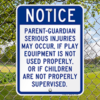 Playground Equipment Warning Sign