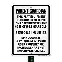 Injuries Supervision Playground Sign