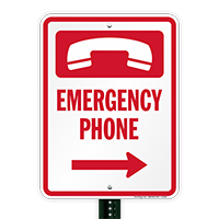 Emergency Telephone Right Arrow Sign