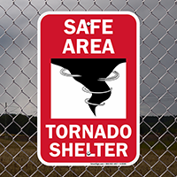 Safe Area With tornado Graphic Emergency Shelter Sign