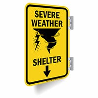 Severe Weather Shelter Ahead Arrow Sign