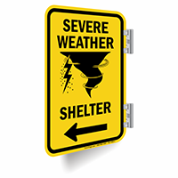Severe Weather Shelter Left Arrow Sign