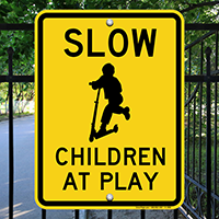Slow Down Chldren At Play Sign