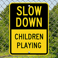 Children Playing Speed Limit Sign