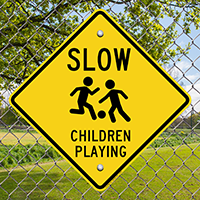 Children Playing with Graphic Sign