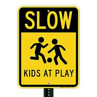 Slow Kids At Play Sign with Graphic Sign