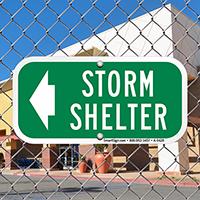 Storm Shelter Left Arrow Sign