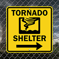 Emergency Tornado Shelter Sign With Right Arrow
