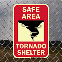 Safe Area With Graphic Glow In Dark Emergency Shelter Sign