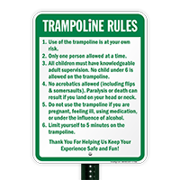 Trampoline Rules Sign