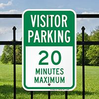Visitor Parking 20 Minutes Maximum Sign