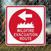 Wildfire Evacuation Route Left Sign