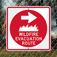 Wildfire Evacuation Route With Right Arrow Signs