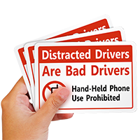 Distracted Drivers Hand-Held Phone Use Prohibited Label