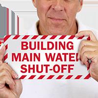 Main Water Shut-Off Emergency Label