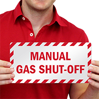 Manual Gas Shut Off Emergency Label