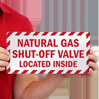 Shut-Off Valve Located Inside Emergency Label