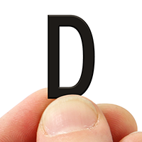 2 In. Tall Magnetic Letter D Black Die-Cut