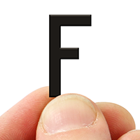 2 In. Tall Magnetic Letter F Black Die-Cut
